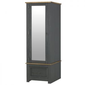Stamford Carbon Armoire with Mirrored Door
