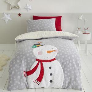 Catherine Lansfield Cosy Snowman Duvet Set, Grey