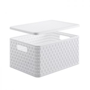 Country Basket & Lid - A4, White