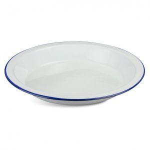 Highlander Vintage Enamel Deep Plate - White