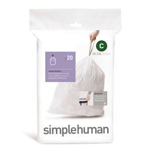 Simplehuman Sure Fit 'C' Bin Liner Rolls, 10-12 Litre - 20 Pack