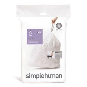 Simplehuman Sure Fit 'D' Bin Liner Rolls, 20 Litre - 20 Pack