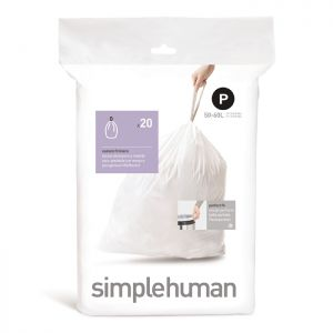 Simplehuman Sure Fit 'P' Bin Liner Rolls, 50-60 Litres - 20 Pack