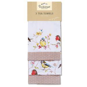 Cooksmart Tea Towels, Pack of 3 - Dawn Chorus