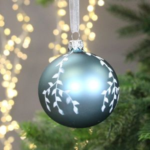 Decoris Glass Bauble with White Branches, 8cm - Blue Dawn