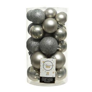 Decoris Assorted Shatterproof Baubles, 30 Pack – Grey