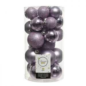Decoris Assorted Shatterproof Baubles, 30 Pack – Lilac