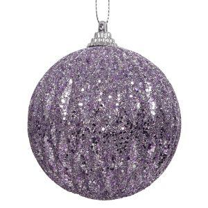 Decoris Foam Glitter Bauble, 8cm – Lilac
