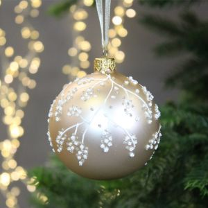 Decoris Glass Bauble with Glitter Branch, 8cm - Pearl