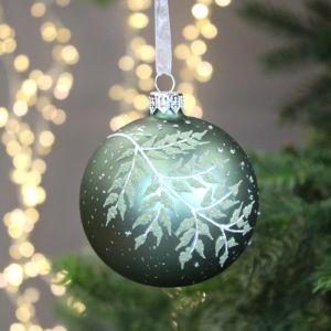 Decoris Glass Bauble with Glittered Fern Leaf, 8cm - Sage Green
