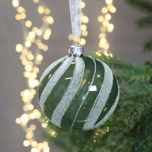 Decoris Glass Bauble with Swirls, 8cm - Dark Green