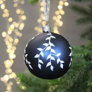Decoris Glass Bauble with White Branches, 8cm - Night Blue