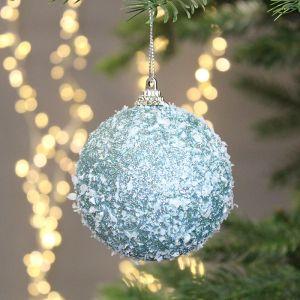 Decoris Glitter Foam Bauble with Snow, 8cm - Blue Dawn