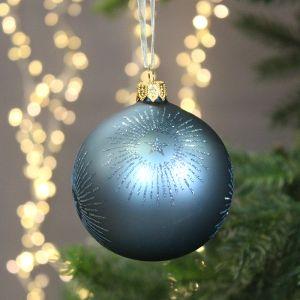 Decoris Glitter Starburst Bauble, 8cm - Blue Dawn