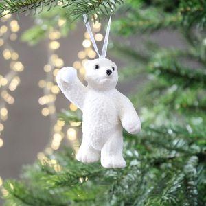 Decoris Glittered Polar Bear Decoration