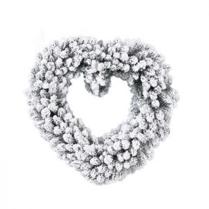 Decoris Imperial Snowy Heart Wreath – 50cm