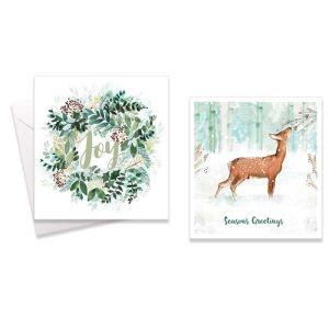 Deer & Wreath Christmas Cards - Pack of 10