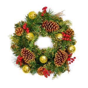 Premier Gold Dressed Wreath – 40cm