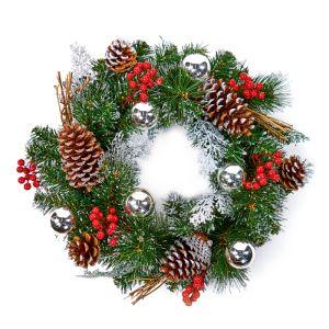 Premier Silver Dressed Wreath – 40cm