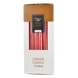 Decoris Dinner Candles 12 Pack - Christmas Red