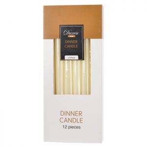 Decoris Dinner Candles 12 Pack - Ivory White