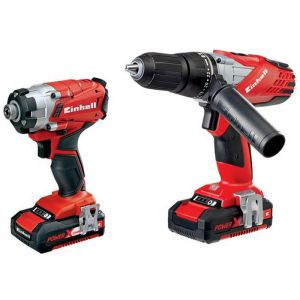 Einhell Power X-Change Combi Drill and Impact Driver -  Twin Pack, 18V, 2 x 1.5Ah Li-Ion Batteries