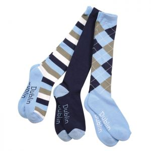 Dublin 3 Pack Socks - Sky/Navy