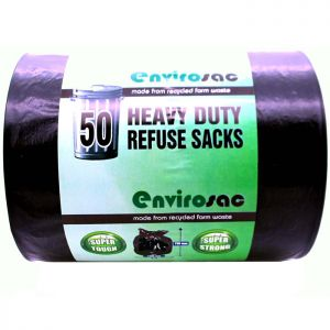Eco Bag Heavy Duty Refuse Sacks, 50 Litres - 50 Pack