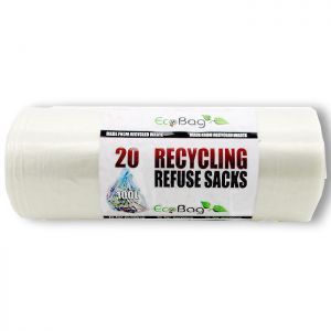 Eco Bag Clear Recycling Refuse Sacks, 100 Litres - Pack of 20