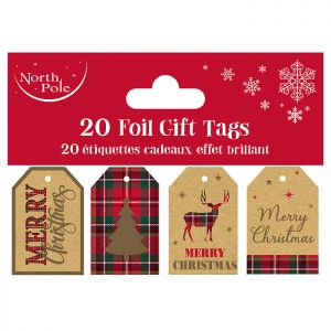 Eco Foil Tartan Gift Tags - 20 Pack