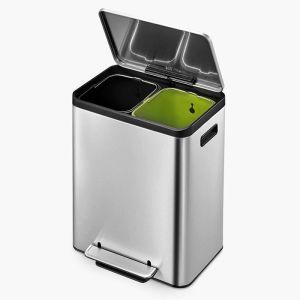 EKO EcoCasa Recycling Pedal Bin, 15L+15L - Stainless Steel