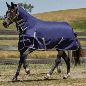 Weatherbeeta ComFiTec Essential Combo Neck Lite Plus Turnout Rug - Navy/Silver/Red