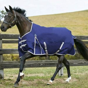 Weatherbeeta ComFiTec Essential Standard Neck Lite Plus Turnout Rug - Navy/Silver/Red