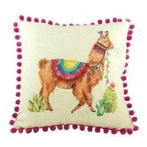 Evans Lichfield Fantasy Square Cushion - Llama Pom Pom