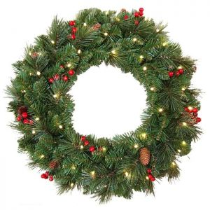 National Tree Everyday Collection Pre-Lit Wreath - 60cm