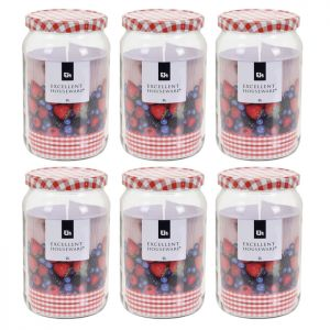 6 x Excellent Houseware Glass Jar with Screw Top Lid, 2 Litre