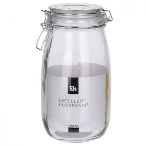 Excellent Houseware Glass Jar with Glass Lid, 1.5 Litre
