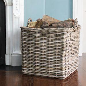 Extra Large Square Wicker Log Basket - Grey