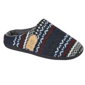Jo & Joe Men's Fairisle Slippers - Grey/Multi