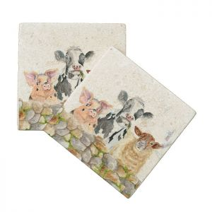 Kate of Kensington Marble Coasters – Farmyard, Pack of 4
