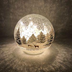 Festive Forest Scene LED Lit Crackle Glass Ball - 15cm