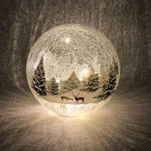 Festive Forest Scene LED Lit Crackle Glass Ball – 20cm