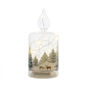 Festive Forest Scene LED Lit Glass Candle – 19cm