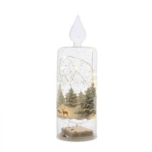 Festive Forest Scene LED Lit Glass Candle – 26cm