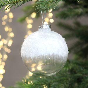 Festive Glitter Glass Bauble, 8cm – Clear White
