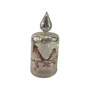 Festive Robin LED Lit Silver Glass Candle – 19cm