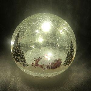 Festive Sleigh LED Lit Crackle Glass Ball – 15cm