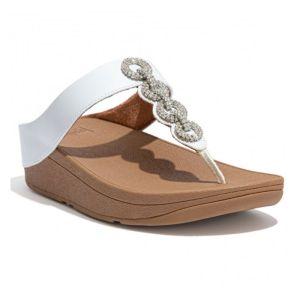 FitFlop Women's Fino Sparkle Toe-Post Sandals – White