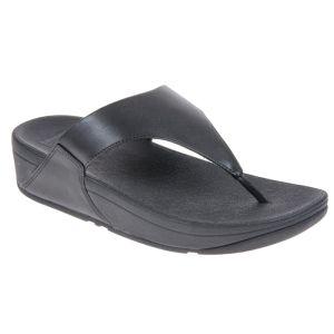 FitFlop Women's Lulu Leather Toe-Post Sandals – Black