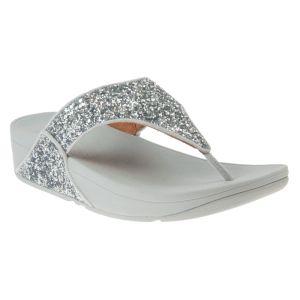 FitFlop Women's Lulu Shimmer Toe-Post Wide Sandals – Silver